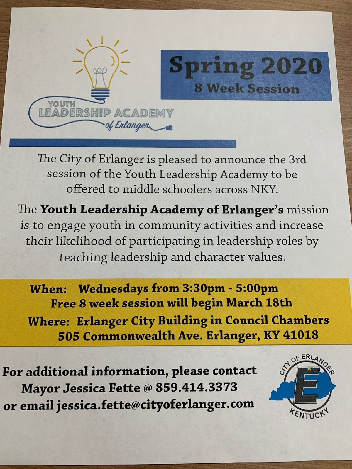 City of Erlanger Youth Leadership Academy